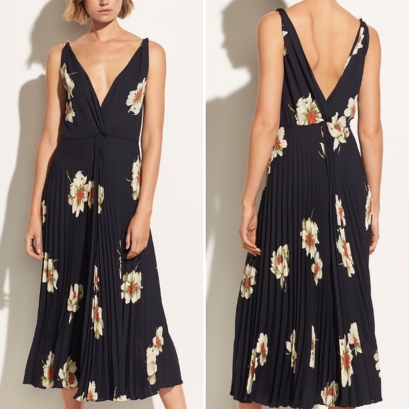 Vince Dresses & Skirts - Vince Gardenia Floral Pleated Twist Front Dress 8